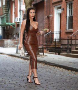 PU brown dress