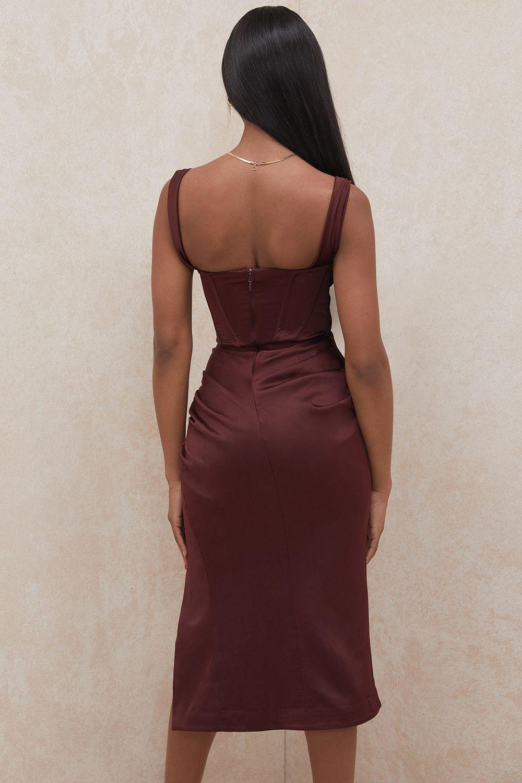 rust off shoulder dress