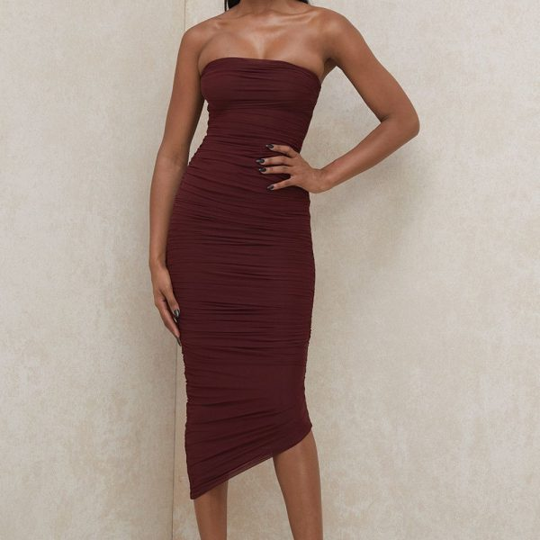 Rust women wrapped dress